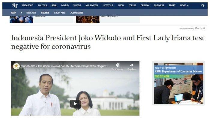 Media Asing Beritakan Jokowi dan Iriana yang Dites Negatif Virus Corona