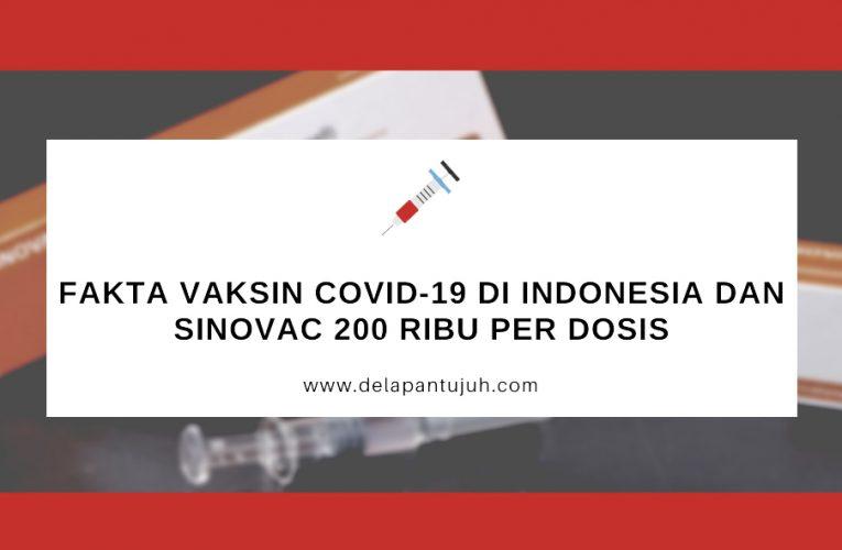 Fakta Vaksin COVID-19 di Indonesia dan Sinovac 200 Ribu per Dosis